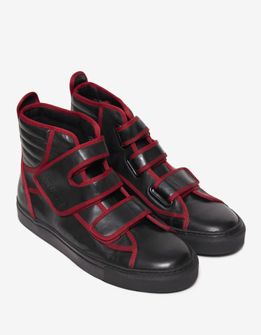 Raf Simons Black High Top Trainers with Highlights