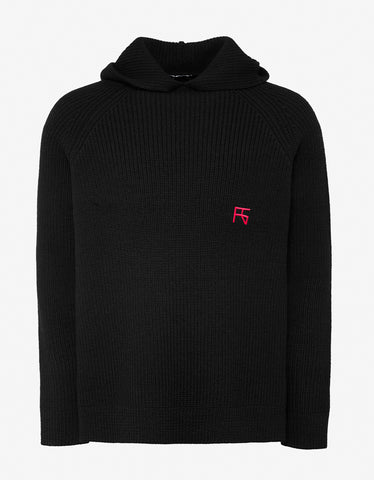 Raf Simons Black Hooded Sweater with Embroidery