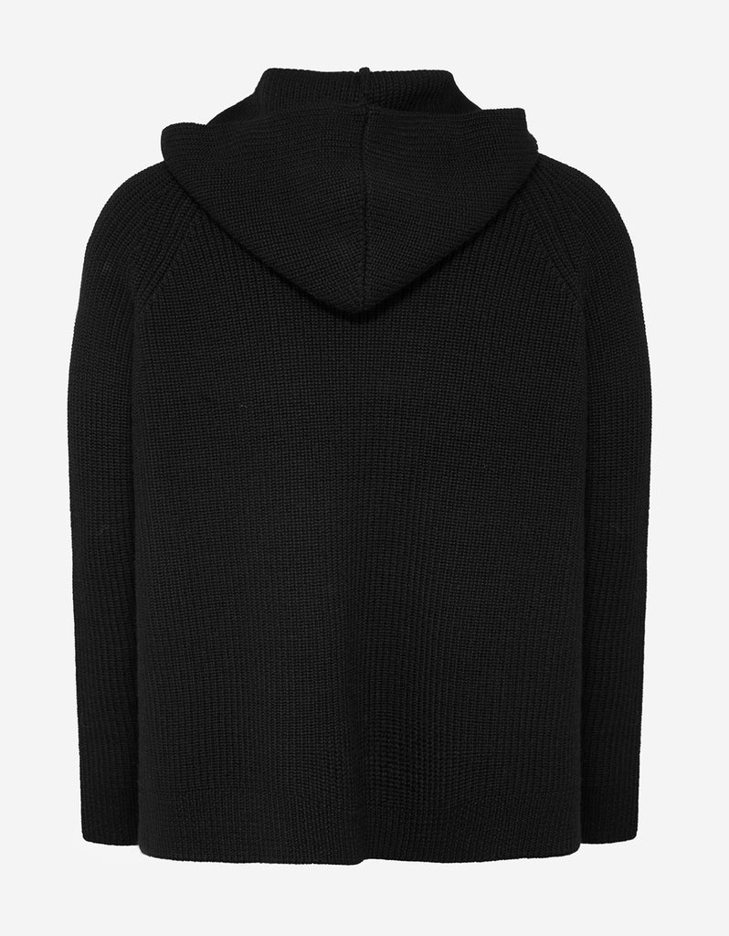 Black Hooded Sweater with Embroidery