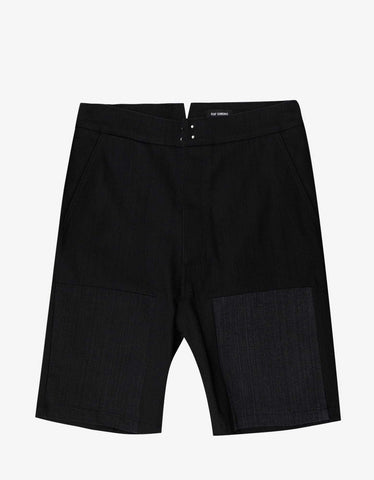Raf Simons Black Denim Workwear Shorts with Insert