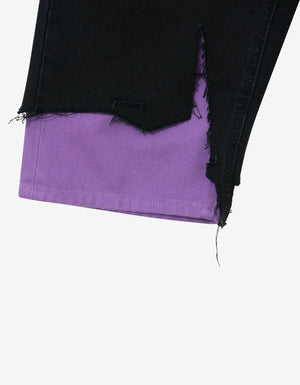 Black & Purple Slim Fit Destroyed Denim Shorts