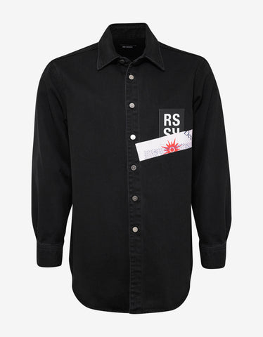 Raf Simons Black RS Logo Patch Denim Shirt