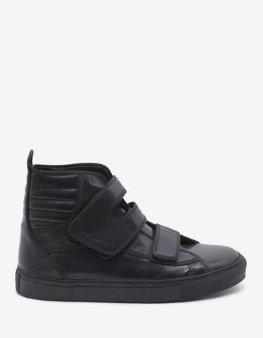 Raf Simons Black Velcro Strap High Top Trainers