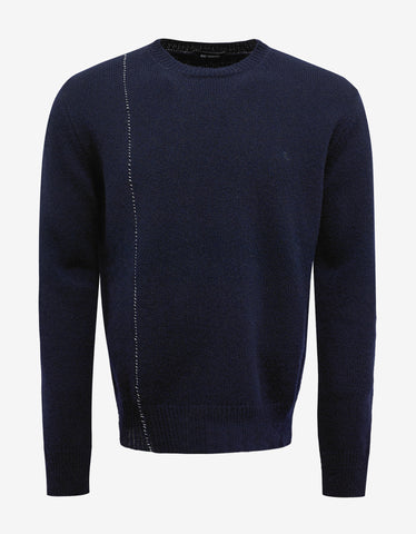 Raf Simons Navy Blue Sweater with Stitch Detail