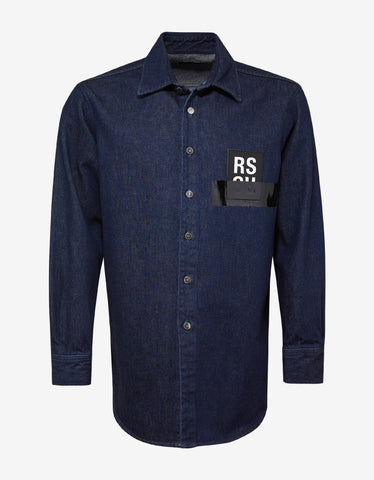 Raf Simons Blue Logo Patch Denim Shirt