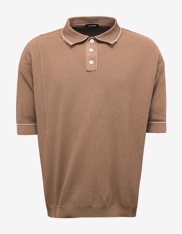 Raf Simons Brown Oversized Polo T-Shirt