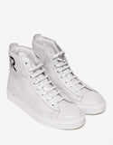 Ecru Leather High Top Trainers