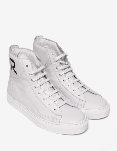 Raf Simons Ecru Leather High Top Trainers