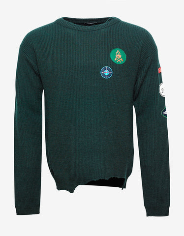Raf Simons Green Wool Sweater with Badges