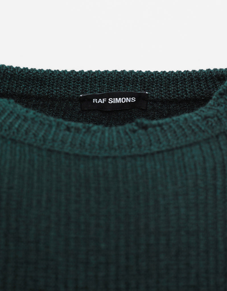 Green Wool Sweater with Badges