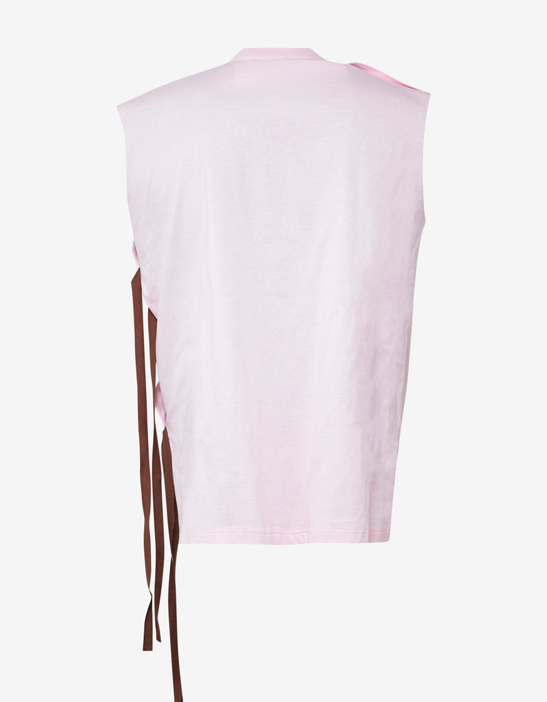 Light Pink Sleeveless T-Shirt with Strings