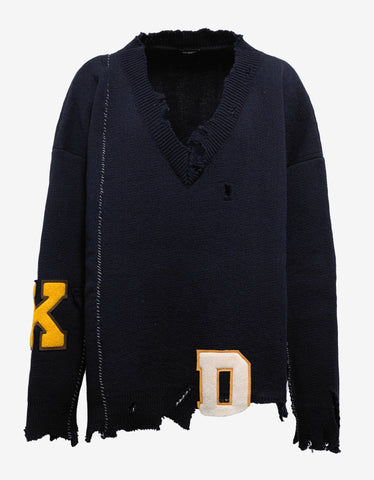 Raf Simons Navy Blue Oversized Destroyed Sweater