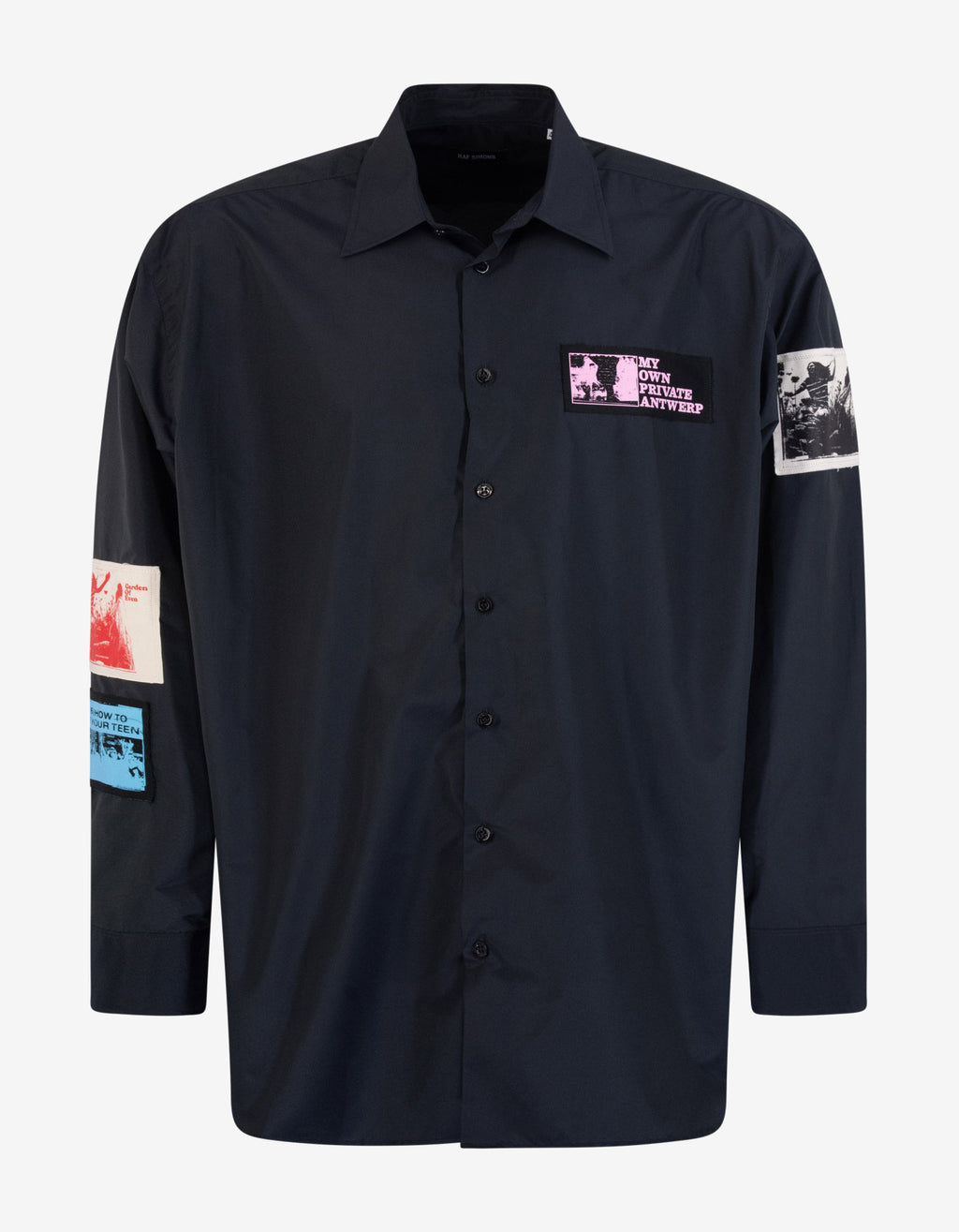 Navy Blue Oversized Shirt with Patches