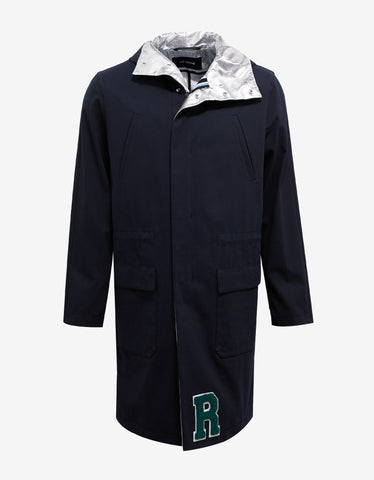 Raf Simons Navy Blue Parka with Silver Interior