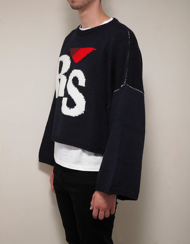 Raf Simons Navy Blue RS Logo Cropped Oversized Sweater