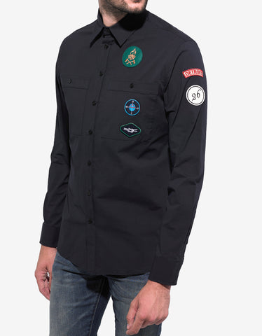 Raf Simons Navy Blue Shirt with Badges