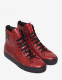 Red & Black Leather High Top Trainers