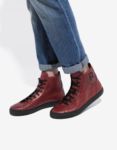 Raf Simons Red & Black Leather High Top Trainers