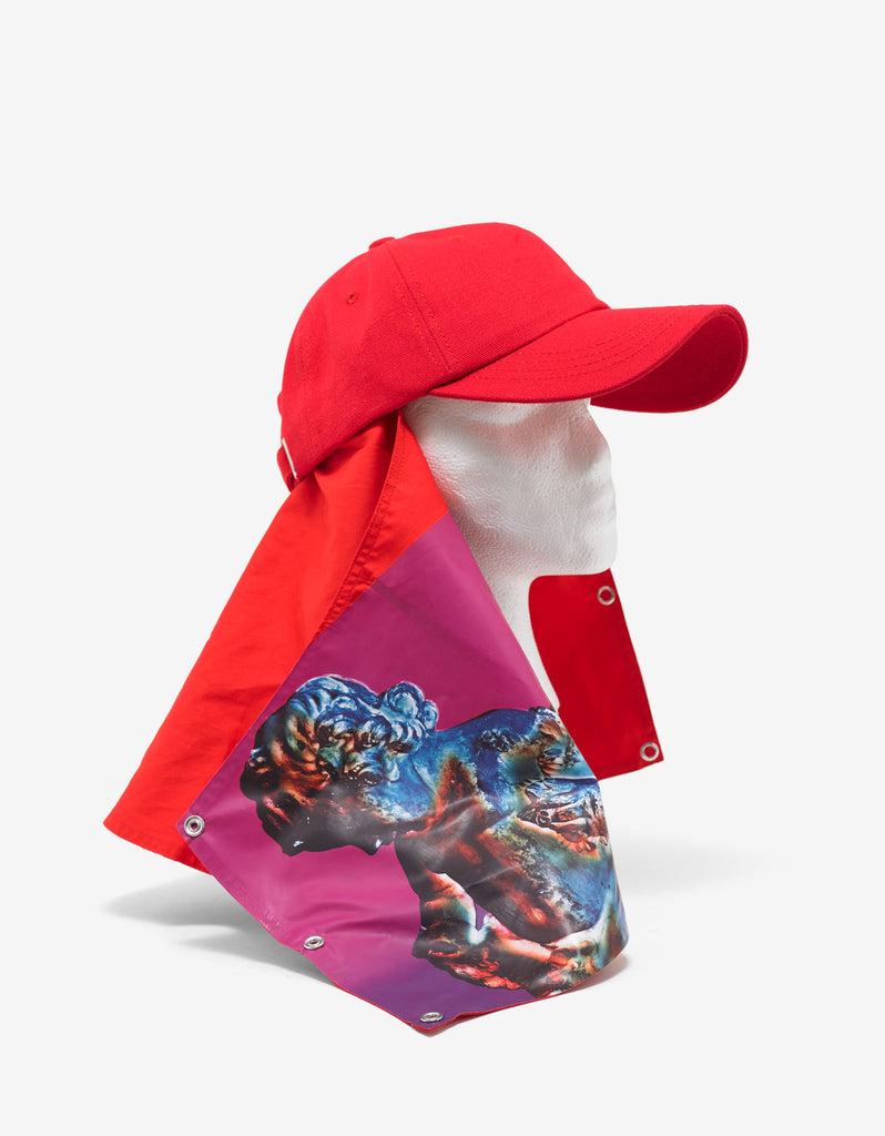 Red Peter Saville Baseball Cap with Attachment