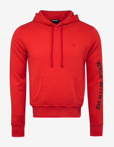 Red 'Walk With Me' Slim Fit Hoodie