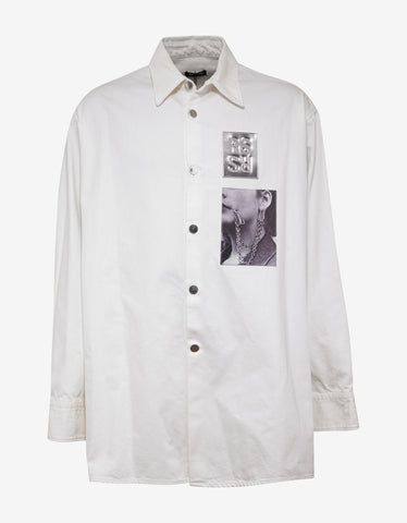 Raf Simons White Denim Shirt with Two Patches