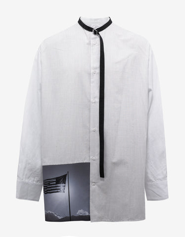 Raf Simons Oversized Shirt with Neck Strap & Flag Panel