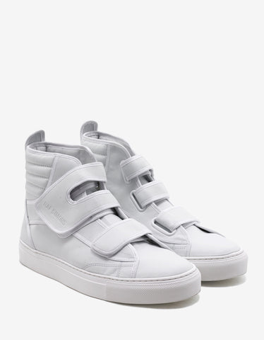 Raf Simons White Velcro Strap High Top Trainers