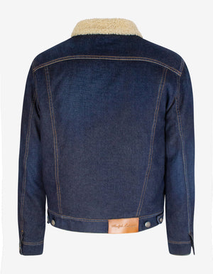 Blue Shearling Denim Trucker Jacket