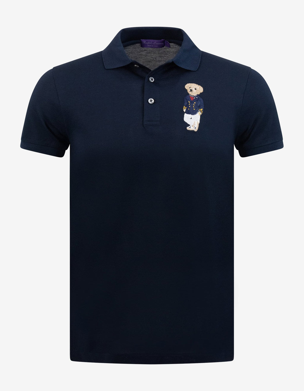 Navy Blue Bear Embroidery Polo T-Shirt -