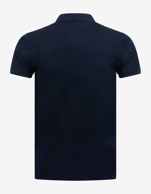 Navy Blue Bear Embroidery Polo T-Shirt