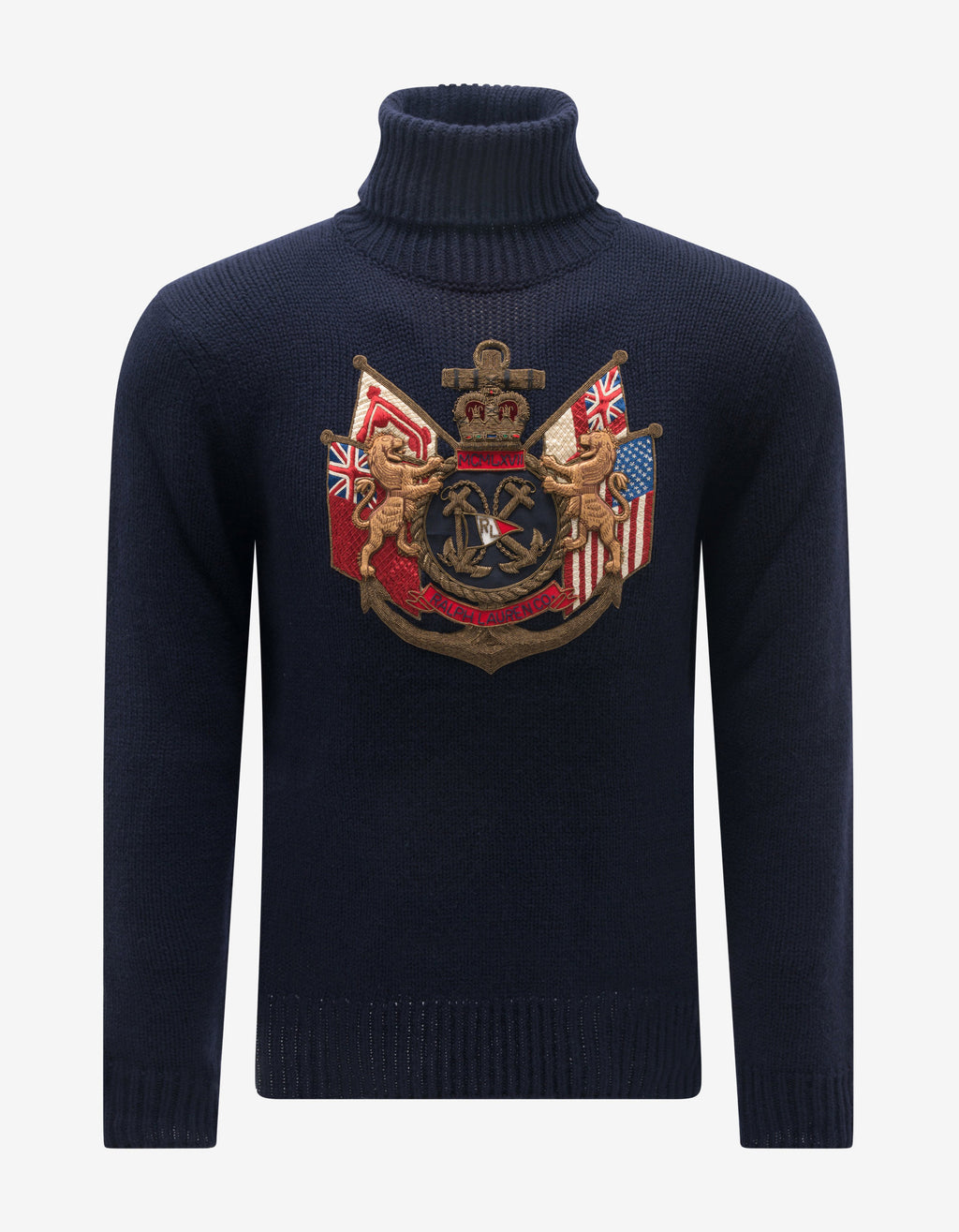 Navy Blue Embroidered Emblem Turtleneck Sweater