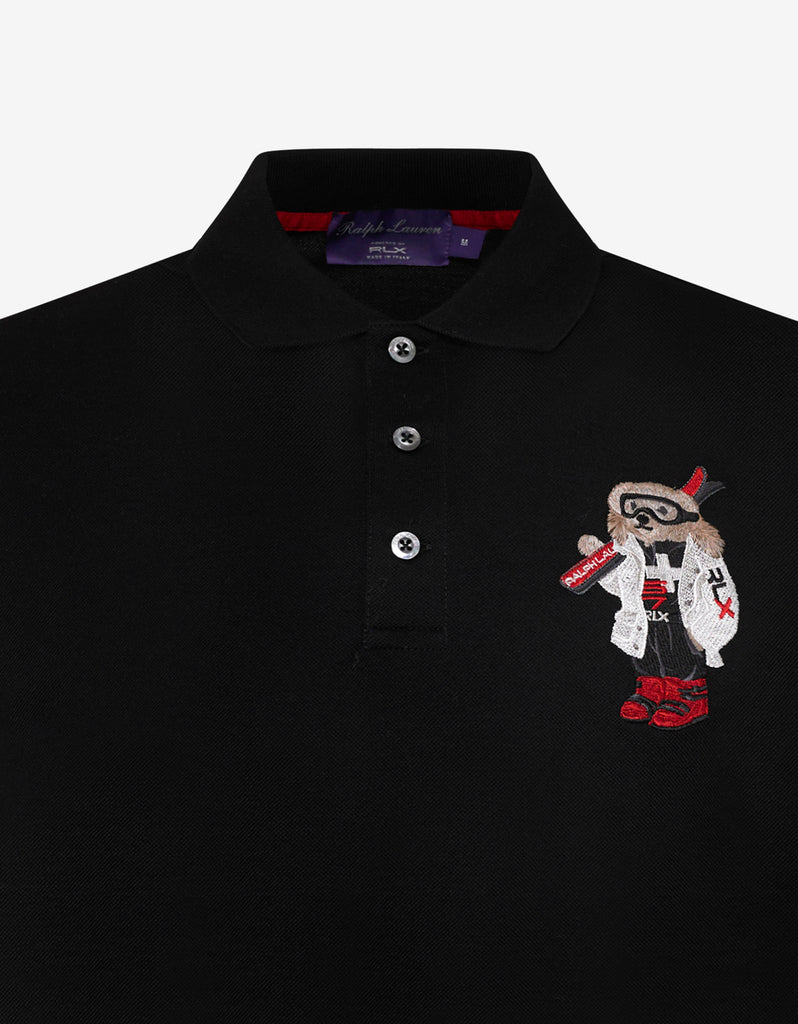 Black Ski Bear Logo Polo T-Shirt