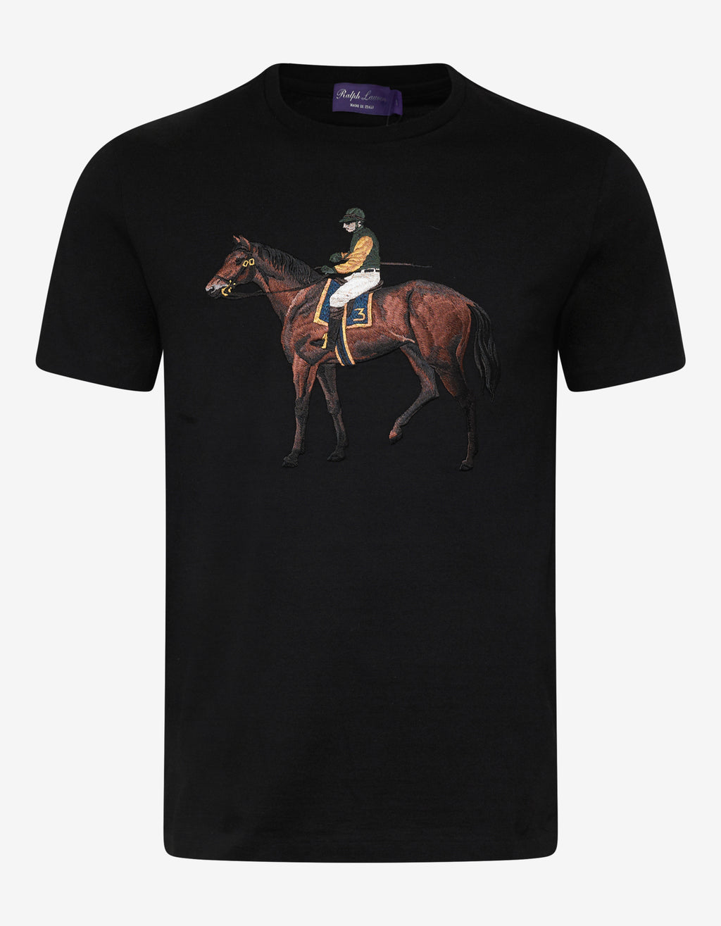 Black Standing Horse Embroidery T-Shirt
