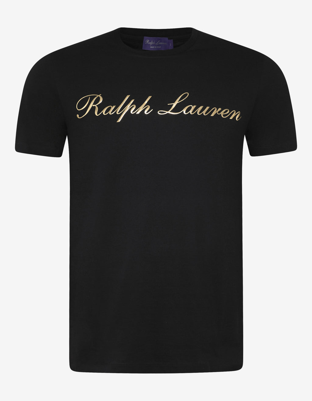 Black T-Shirt with Gold Logo Print