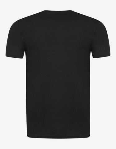 Ralph Lauren Purple Label Black T-Shirt with Gold Logo Print
