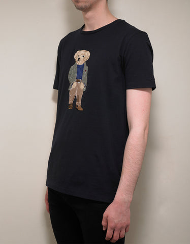 Ralph Lauren Purple Label Navy Blue Bear Embroidery T-Shirt