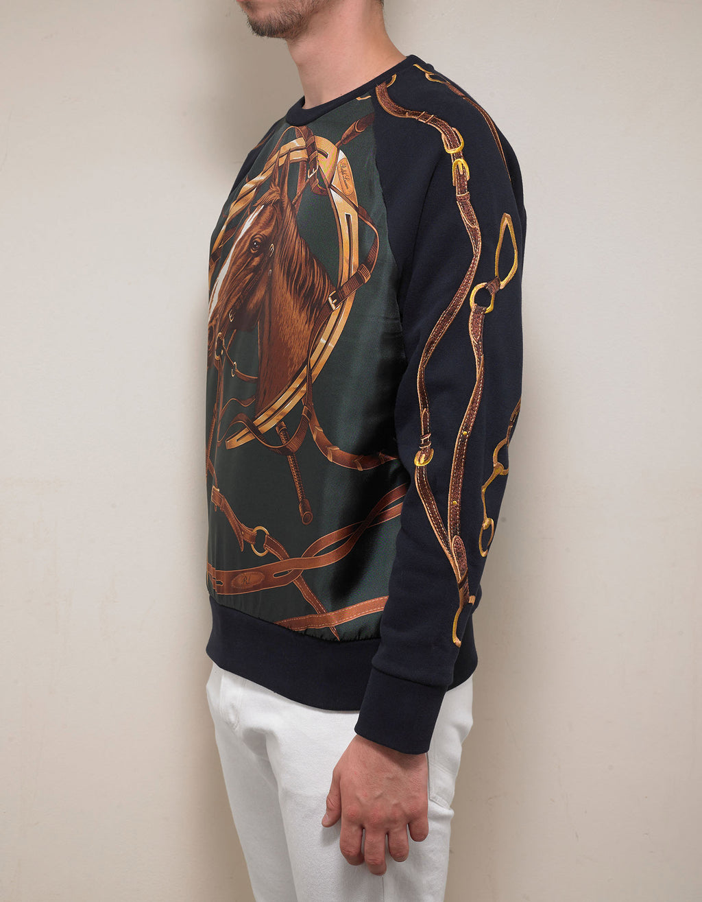 Navy Blue Silk Overlay Horse Graphic Sweatshirt