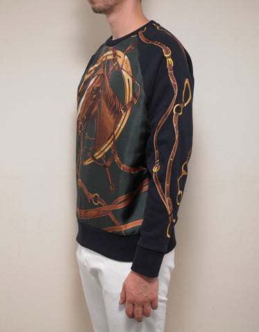 Ralph Lauren Purple Label Navy Blue Silk Overlay Horse Graphic Sweatshirt