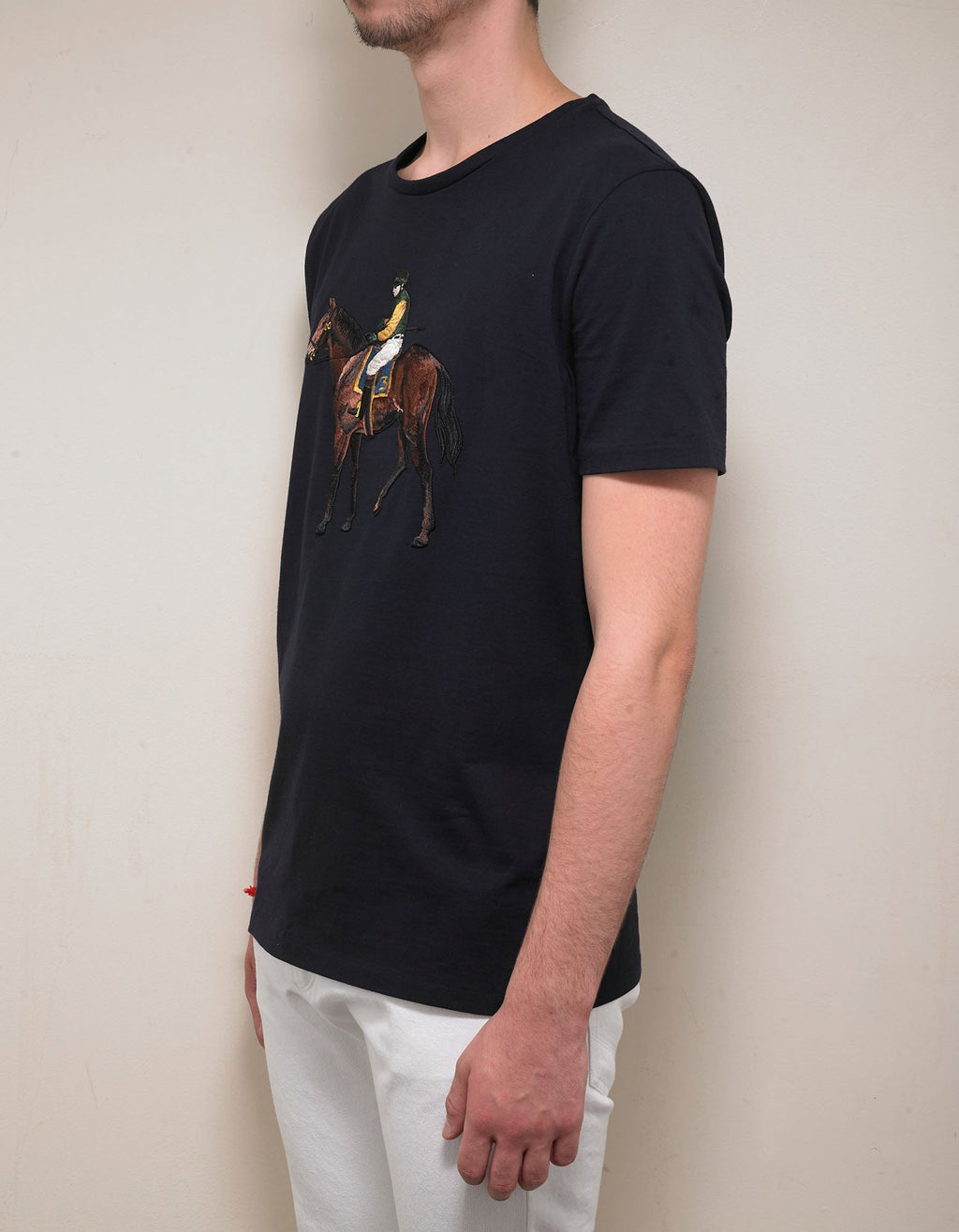 Navy Blue Standing Horse Embroidery T-Shirt -