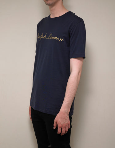 Ralph Lauren Purple Label Navy Blue T-Shirt with Gold Logo Print