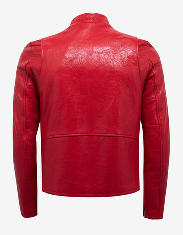 Balenciaga Red Arena Leather Shrunk Blouson