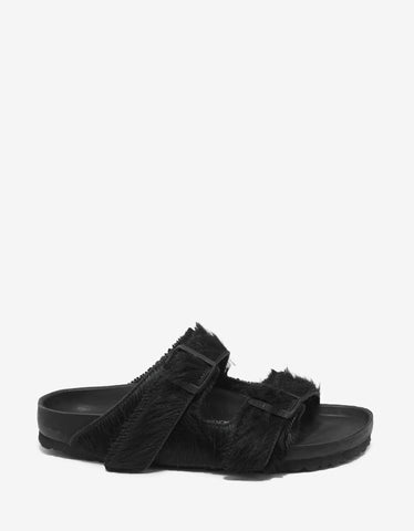 Rick Owens Birkenstock Arizona Black Cow Fur Sandals