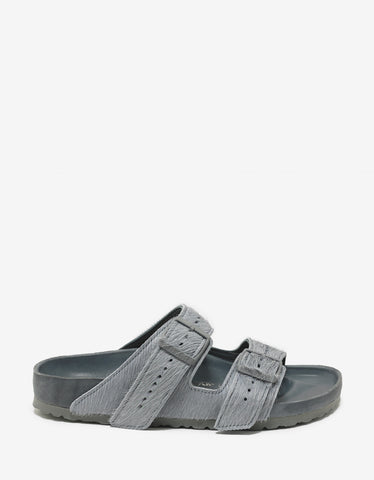Rick Owens Birkenstock Arizona Grey Cow Fur Sandals