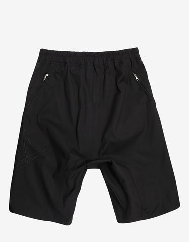 Rick Owens Black Basket Swinger Shorts with Tonal Embroidery
