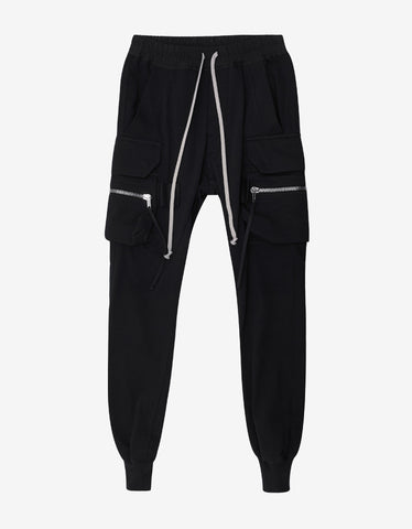 Rick Owens Black Cargo Jogging Pants