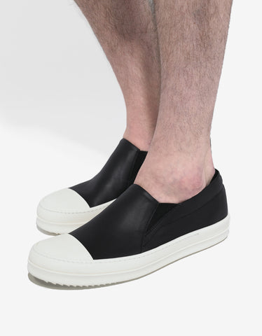 Rick Owens Black Leather Boat Trainers