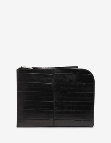 Rick Owens Black Leather Large Zipped PC Pouch