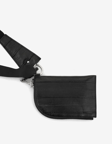 Rick Owens Black Leather Neck Wallet