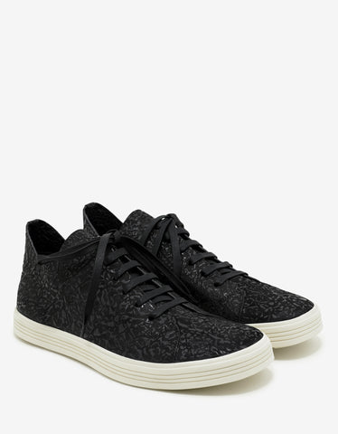 Rick Owens Mastodon Black Textured Leather Trainers