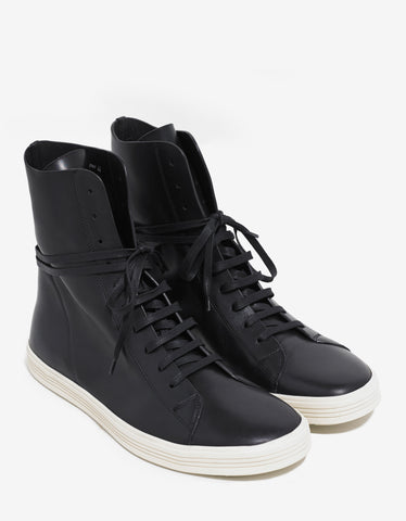 Rick Owens Mastosneaks Black Leather High Top Trainers